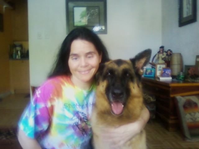 Amy Krout-Horn, blind author of the autobiographical novel My Father's Blood, and her German Shepherd, Bella: photo courtesy of Amy Krout-Horn