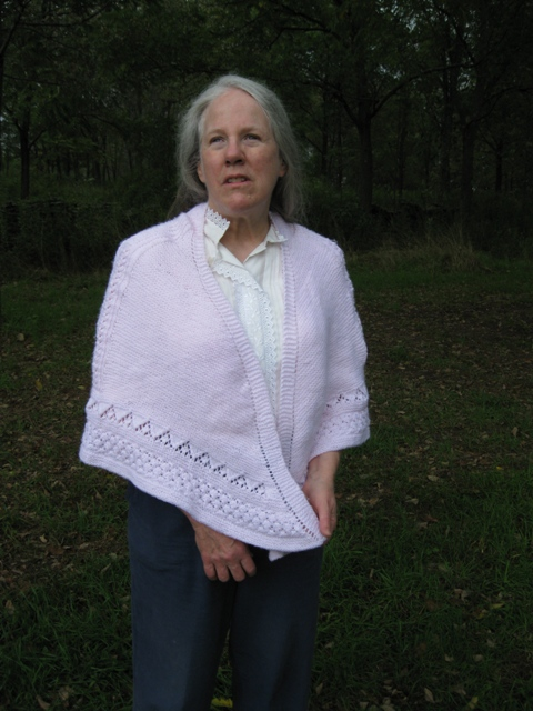 Donna W. Hill, blind author of educator-recommended diversity & anti-bullying novel The Heart of Applebutter Hill, designed & knit this Pink Champagne Faroese Shawl for Breast Cancer Awareness Month: photo by Rich Hill