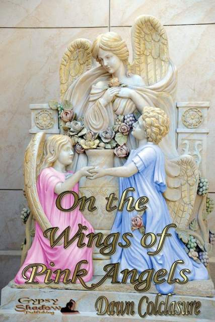 On the Wings of Pink Angels by Dawn Colclasure - Book cover shows statue with 3 angels: photo courtesy of Dawn Colclasure