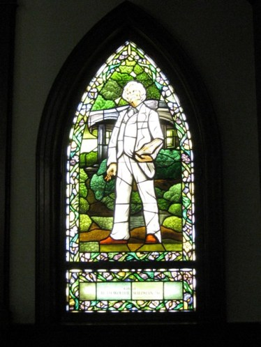 Mark Twain Stained Glass Window at Elmira College: photo by Rich Hill.