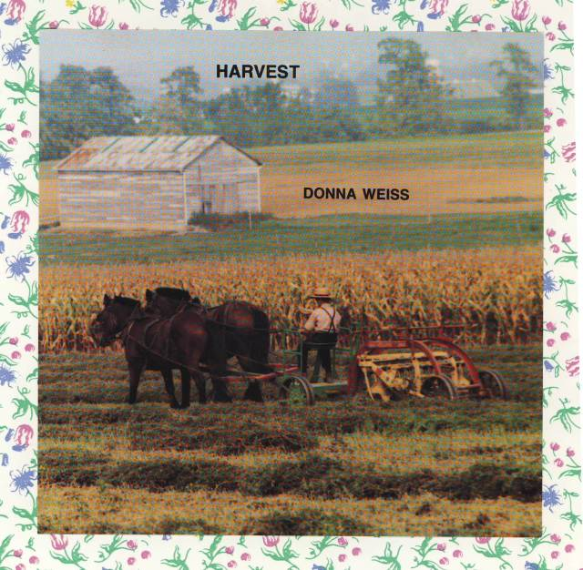 View of Amish farmer working in Lancaster county  (PA) hay field (45 degrees from back. Farmer in straw hat with suspenders crossing his back and a little of his beard - but not his face - showing. He's driving two mules and riding in a sulky with a tetter attached to the back. The hay has already been mowed & is in straight rows from the first tetting. He's flipping it again to help it dry. In the distance is a corn field and in back left a weathered white barn. Photo by Rich Hill.