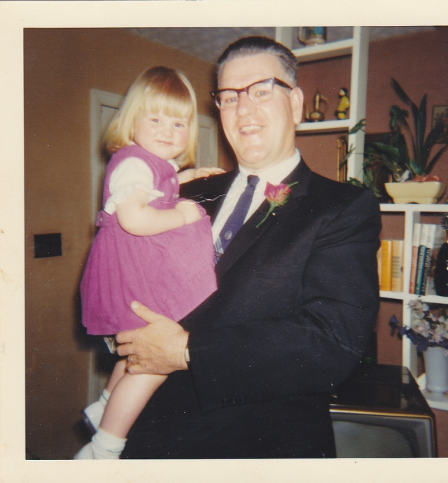 Lisa Weiss (Donna's sister at age 3) and their Dad, Donald Weiss in June, 1967, around the time of Donna's graduation: photo courtesy of Lisa Weiss Robinson.