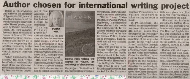 Wyoming ty Examiner (Tunkhannock, PA): Author Chosen for International Writing Project, 7/28/19. pix Haven book cover & Donna W. Hill with yellow Lab guide dog Mo.