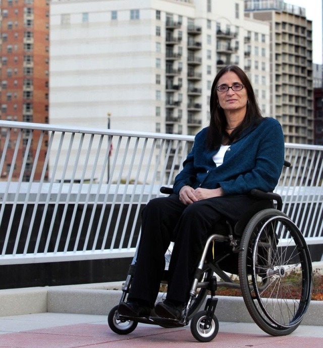 Disability rights pioneer Marca Bristo, founder of Access Living, in 2011, Chicago: photo by Chris Sweda, Chicago Tribune.