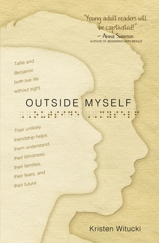 Book cover of Outside Myself by Kristen Witucki, shows profiles of dual protagonists on background of warm tan parchment with title in Braille: photo courtesy Kristen Witucki.